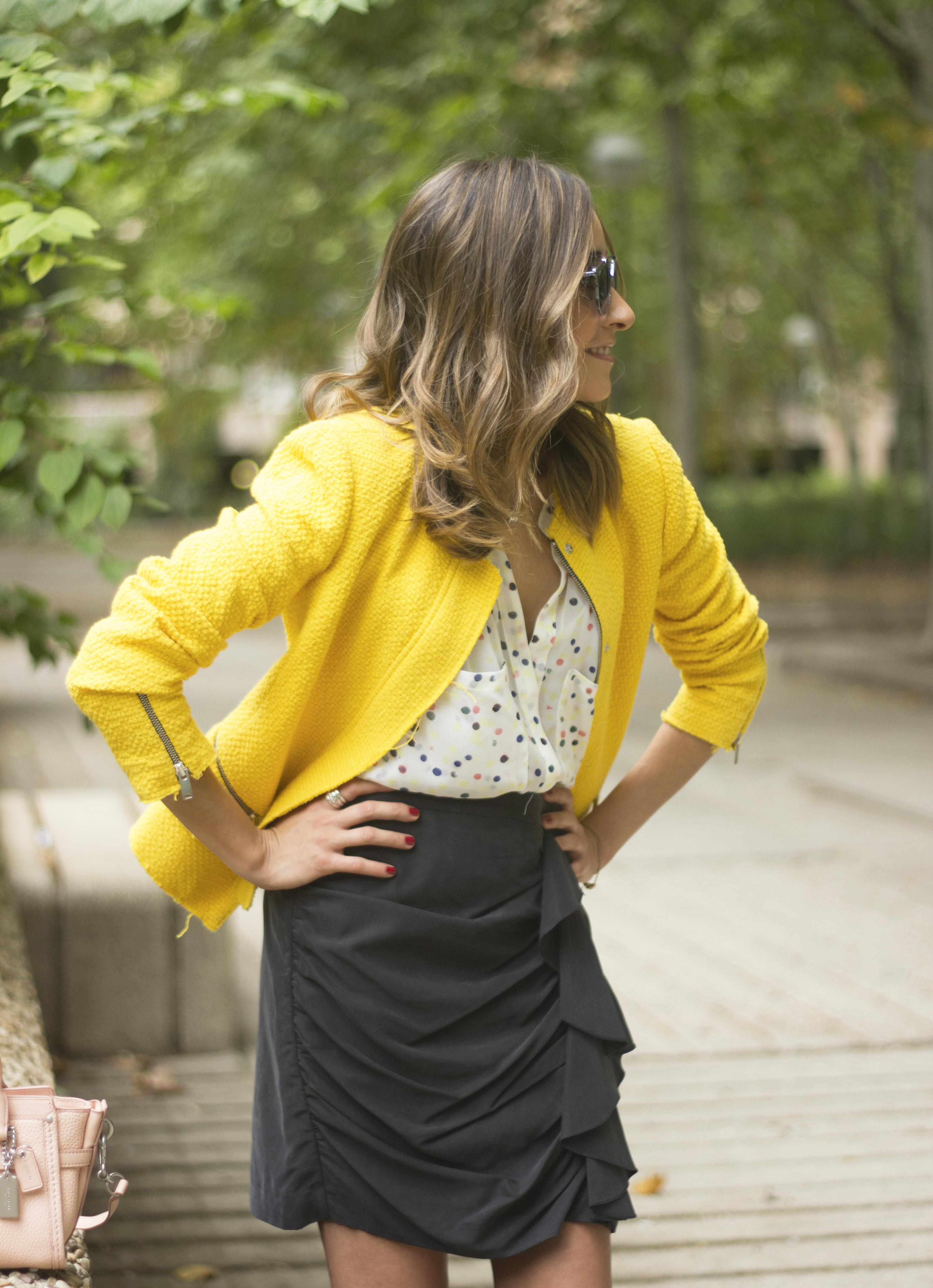 Yellow Jacket Draped Grey Skirt Outfit21