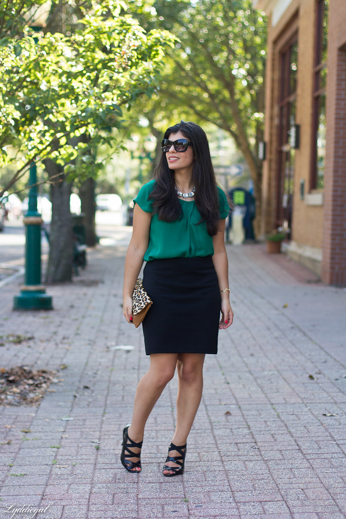 green blouse, black pencil skirt, leopard clutch-3.jpg