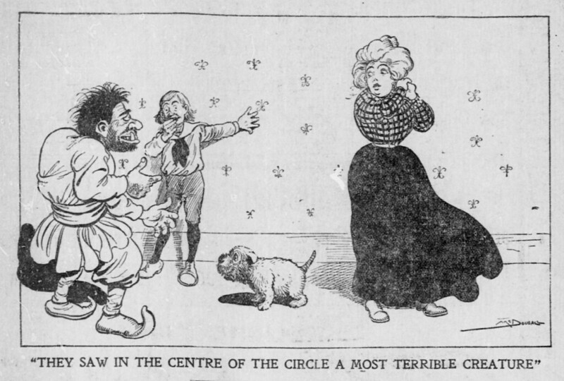 "Walt McDougall - The Salt Lake herald., February 23, 1902, ""They Saw In The Centre Of The Circle A Most Terrible Creature"""