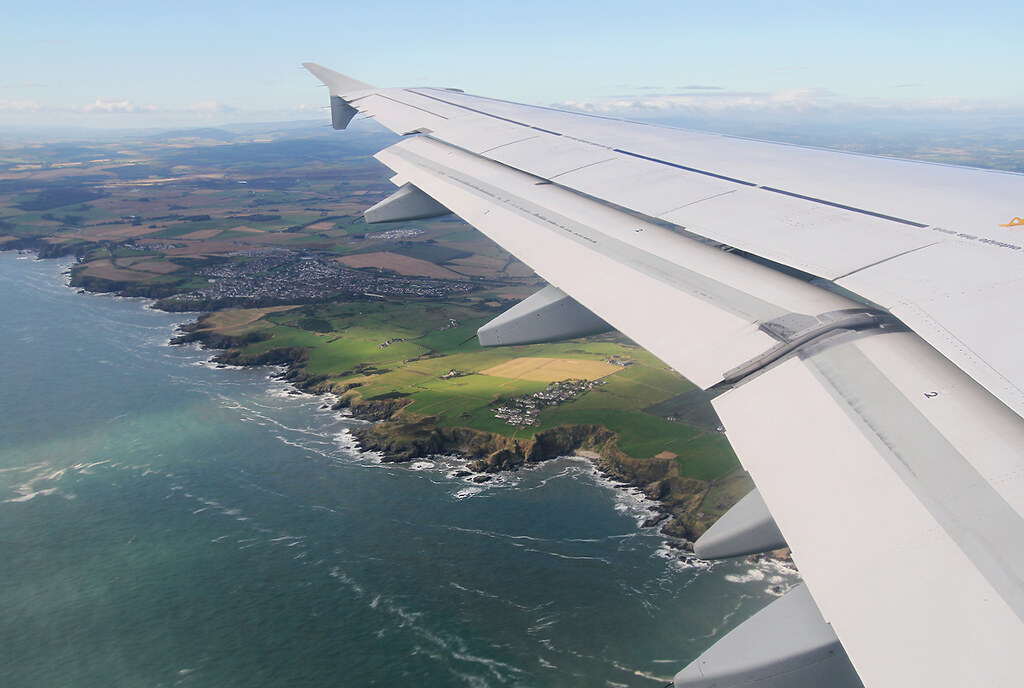 Passing Scotland's scenic coastline during approach to Aberdeen ABZ. Inbound from Frankfurt FRA. Aircraft delivered 09/2011.