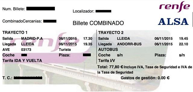 Decepción del combinado tren y autobús a Andorra - Billete de ida Madrid-Andorra
