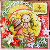 Made a happy christmas card  with mimi and friend stamp set from penny black