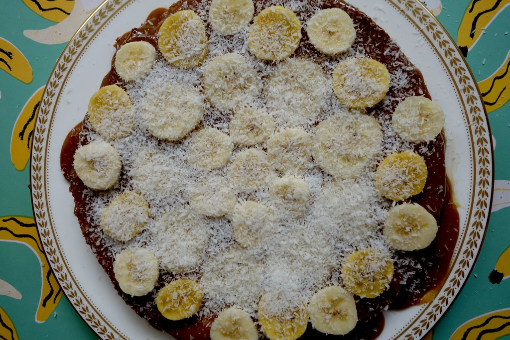 Gluten free Khmer Banoffee Pie with Banana Sugar and Desiccated Coconut