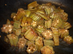Okra Cooking On The Stove.