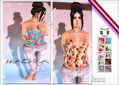 ~ϻ:Tiffany Strap Top and Jeans 10 Color Hud