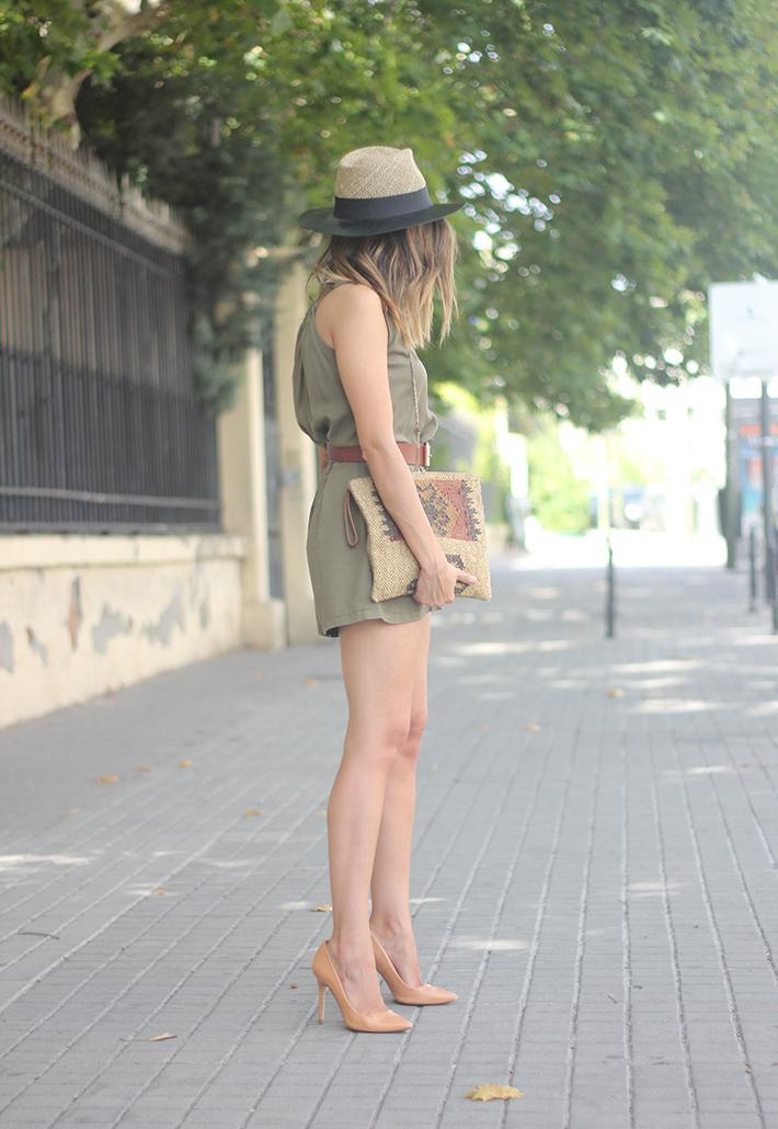 Khaki Jumpsuit Hat Clutch Summer Outfit 01