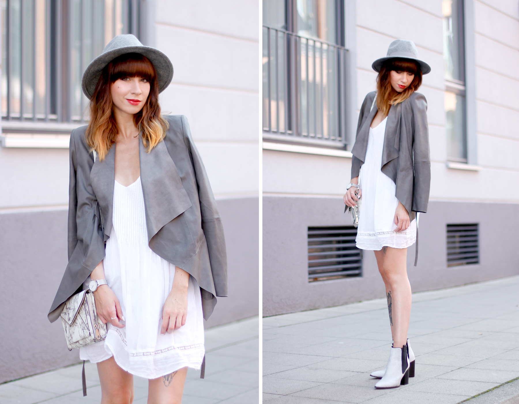 outfit grey hat drykorn leather jacket autumn look minimal chic cute redhead brunette boots fashion blog düsseldorf hannover berlin ricarda schernus cats & dogs 2