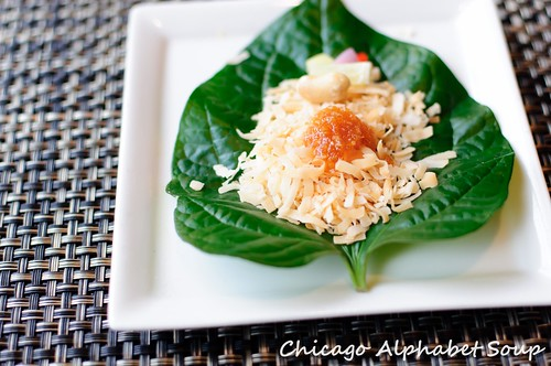 Betal Leaf with Toasted Coconut and Apricot
