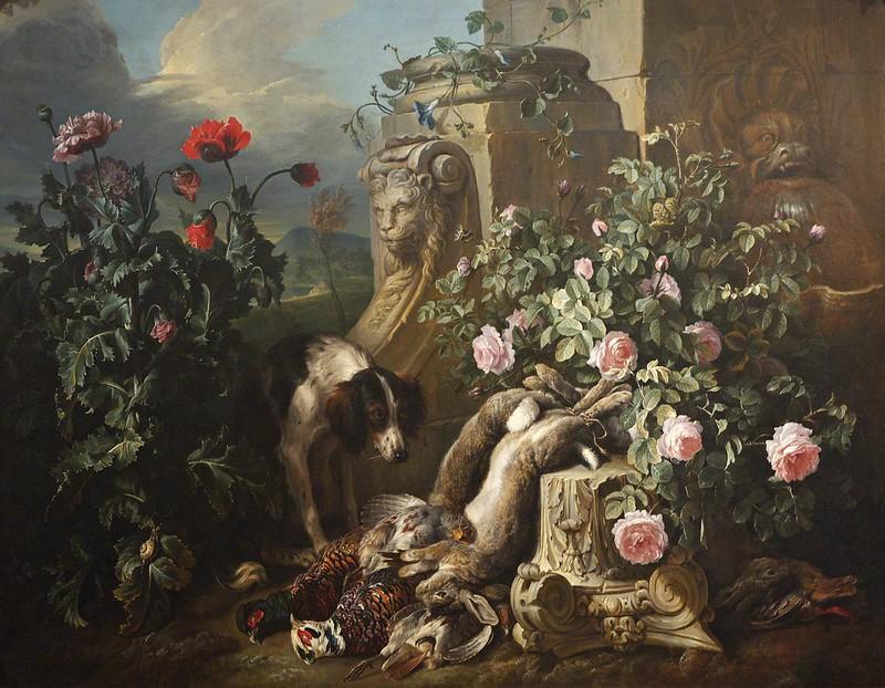 Alexandre-François Desportes - Dogs with Flowers & Dead Game, c.1715