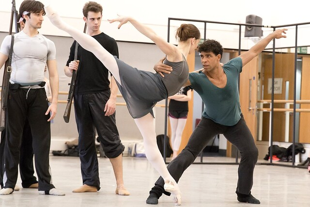 Valentino Zucchetti, Tomas Mock, Marianela Nuñez and Carlos Acosta in rehearsal for Carmen, The Royal Ballet © 2015 ROH. Photograph by Andrej Uspenski