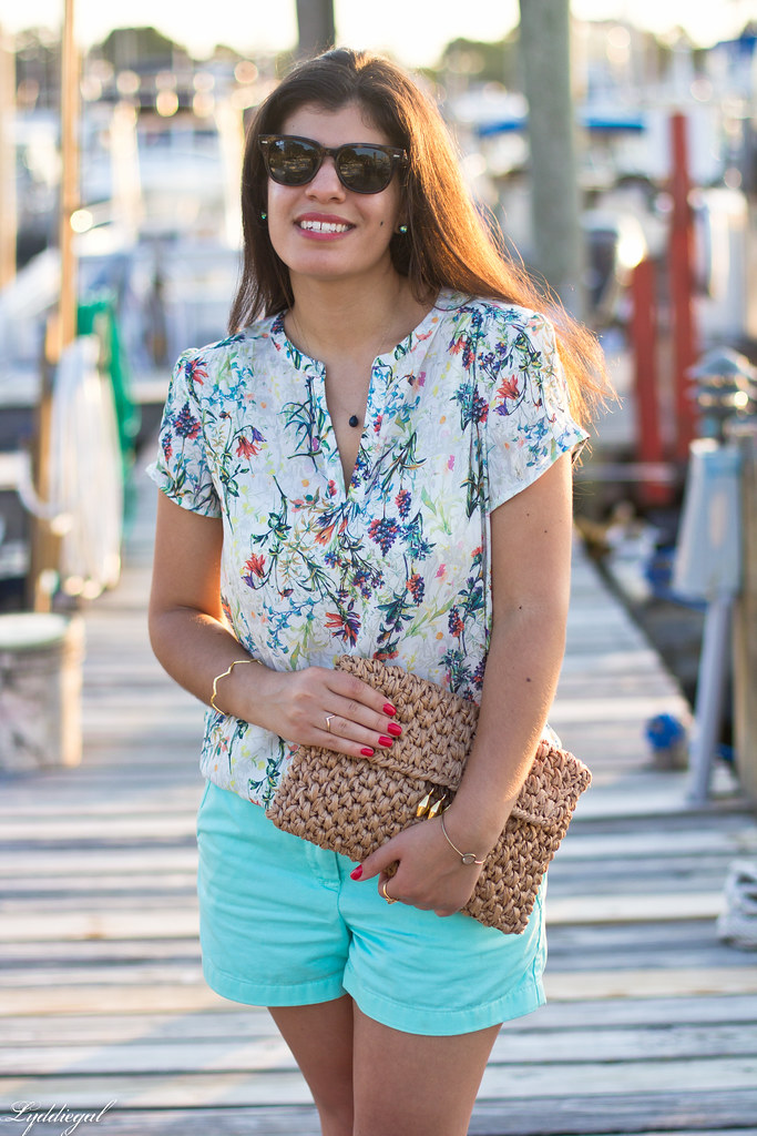 floral blouse, turquoise shorts, jeweled sandals-8.jpg