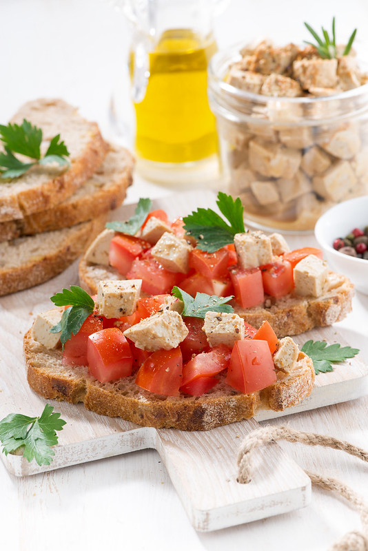 toasts with marinated tofu