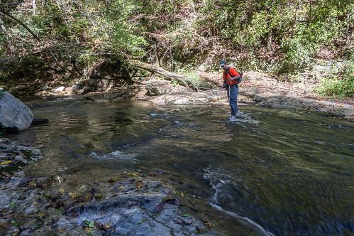 Ed crossing the stream