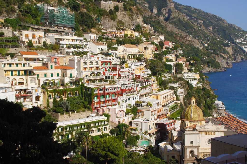 Church of Santa Maria Assunta and Positano Central Beach - Spiaggia Grande