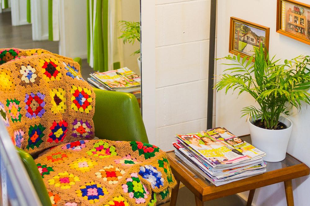 crochet blanket midcentury table Byron shops