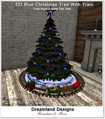 DD Blue Christmas Tree With Train A_001A