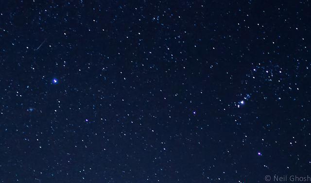A meteor streak during Geminids 2015