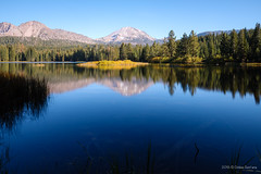 Lassen Peak reflecting on Manzanita Lake