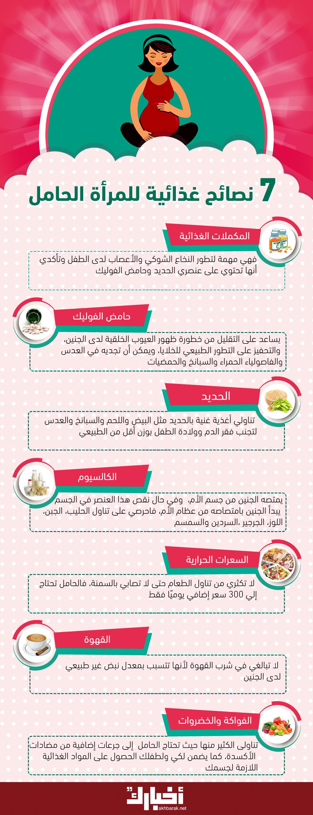 7 نصائح غذائية للمرأة الحامل