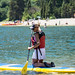 Kneeling on a stand up paddleboard - South Lake Tahoe