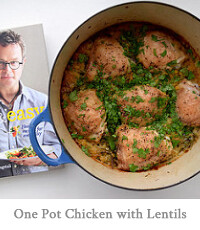 One Pot Roast Chicken Thighs with Lentils