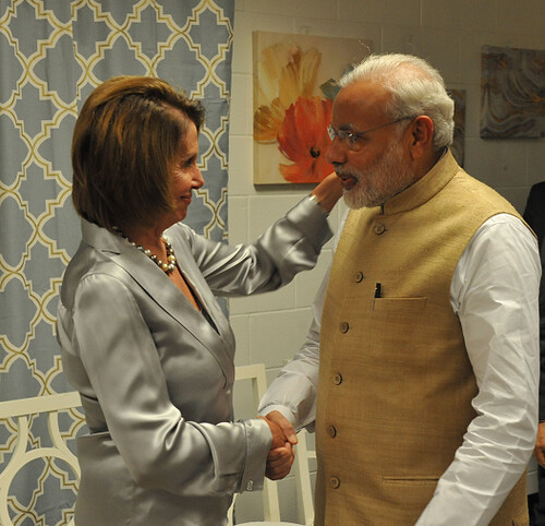 Congresswoman Pelosi greets Prime Minister Modi of India