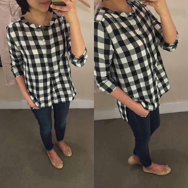 LOFT Gingham Henley Shirt, size XXSP