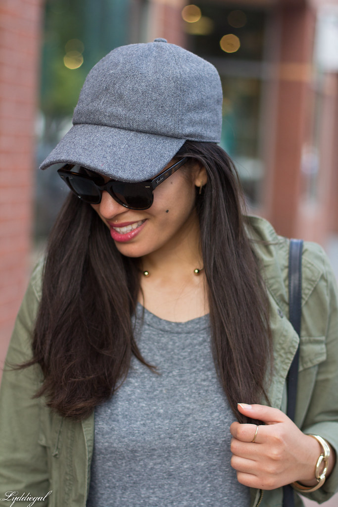 grey sweatshirt dress, field jacket, wool ball cap, dog walking-11.jpg