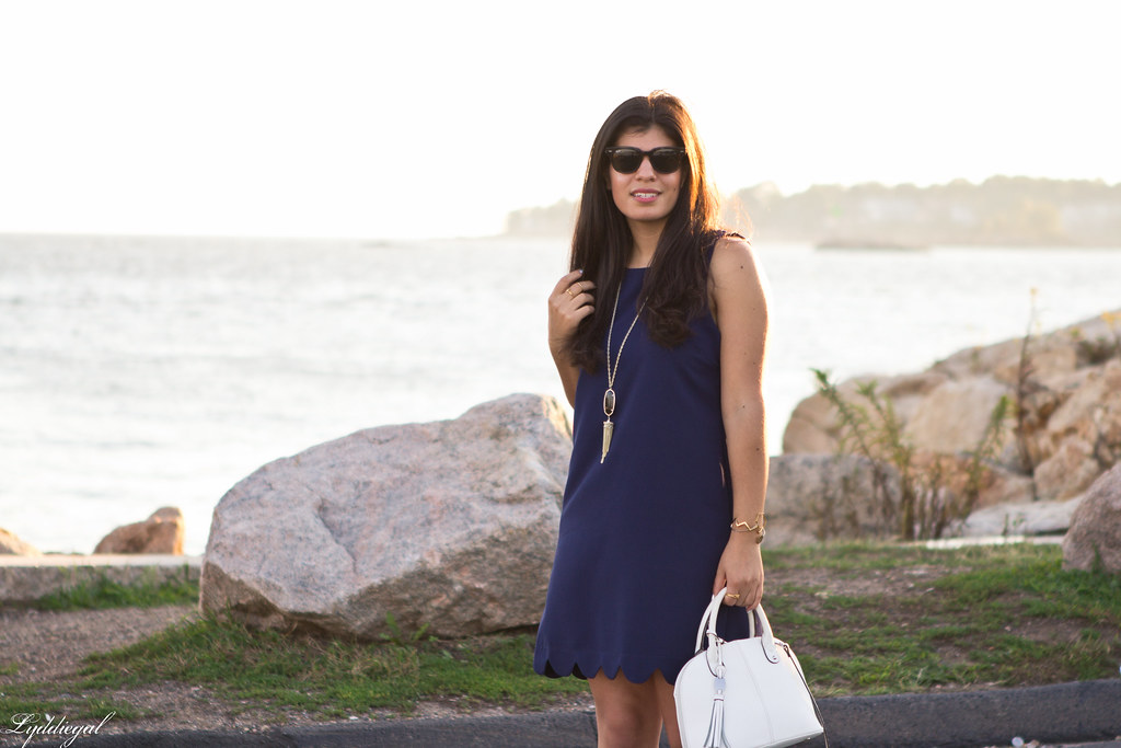 navy scalloped dress, white bag and sandals-2.jpg