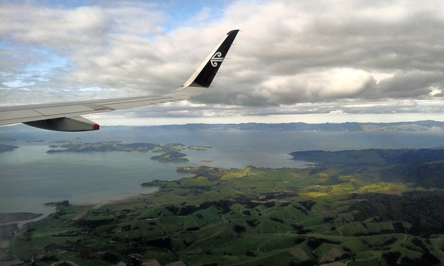 Approaching Auckland Airport over Clevedon