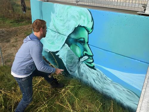Muurschildering en schilderij windmolen Deventer