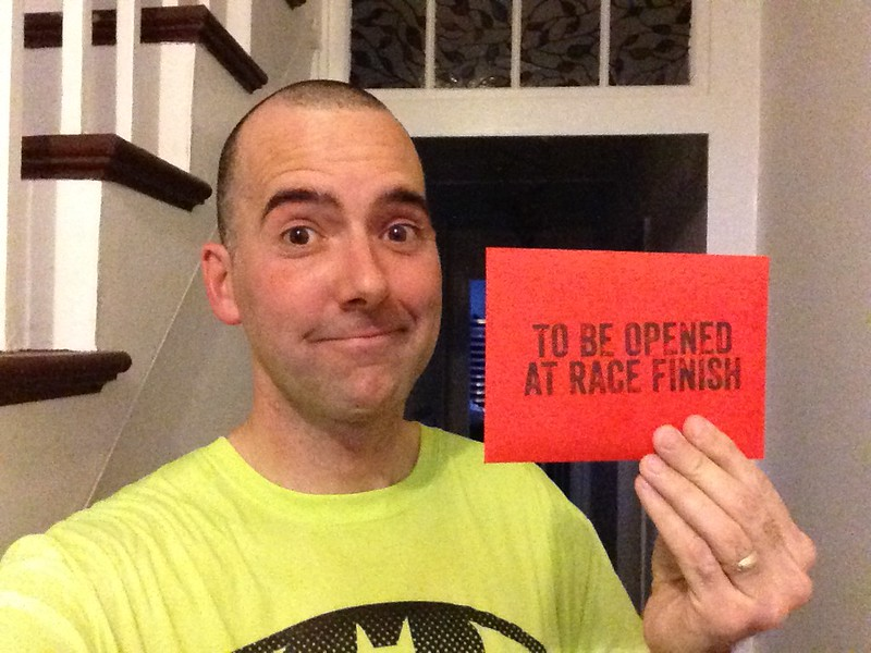 Brian Cribb with his ZombiesRun Virtual Race reward packet