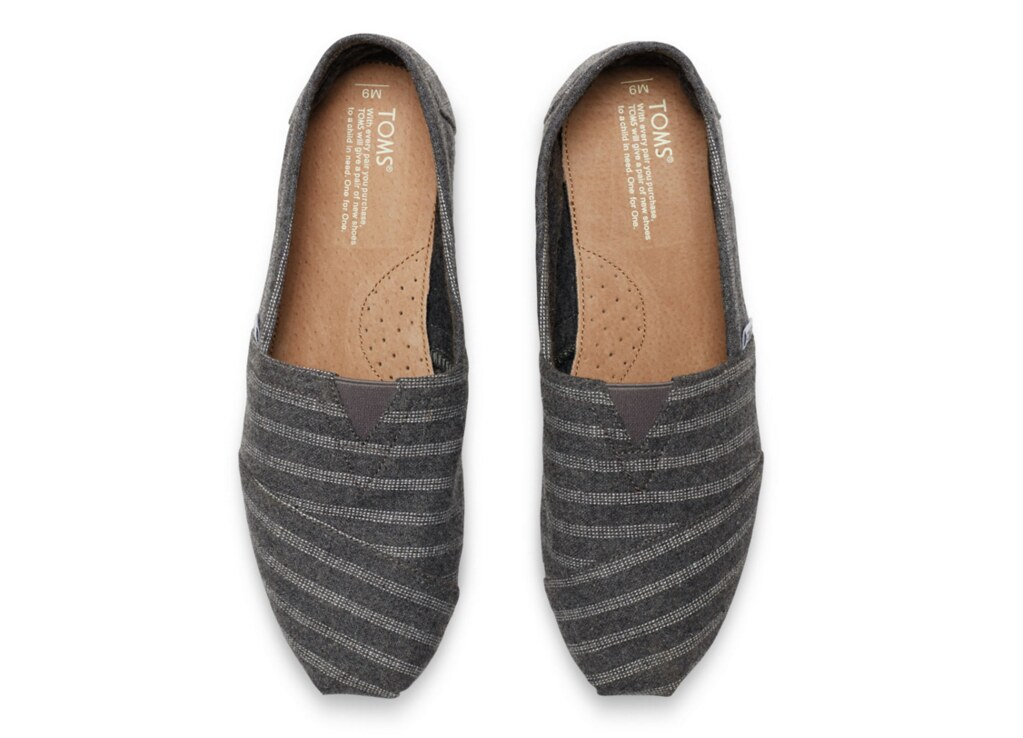 TOMS Grey Wool Stripe Men's Classic Shoes