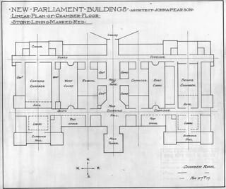 New Centre Block, Parliament Buildings, Ottawa, showing linear plan of chamber floor / Le nouvel édifice du Centre du Parlement, à Ottawa; plan linéaire de l'étage où se trouvent les chambres