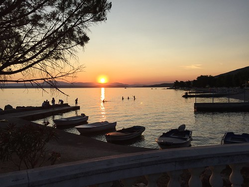 sunset playing swimming boats harbour croatia bathing crikvenica
