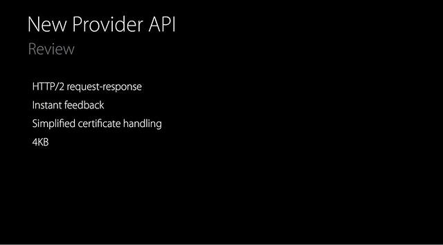 new provider API