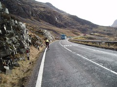 Helen cycling up Glencoe Image