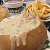 American food adventure officially starts now: New England Clam Chowder in a bread bowl.