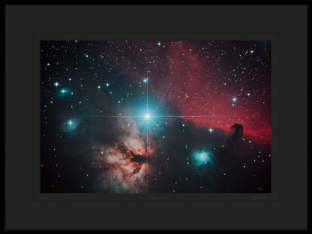 Flame and Horsehead Nebula near Alnitak in Orion - by Mike O'Day ( https://500px.com/mikeoday )