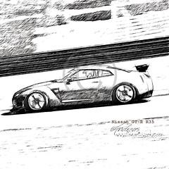 Nissan GT-R R35 Pencildrawing by www.autozeichnungen.net