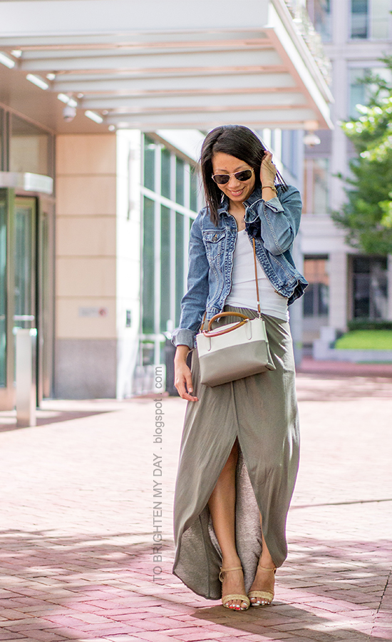 denim jacket, flower pin, olive green maxi skirt, raffia heels, crossbody bag
