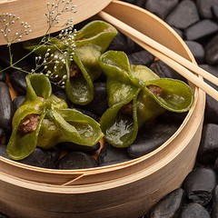 Spinach Dim Sum with Tuna, Smoked Bamboo and Khoi…