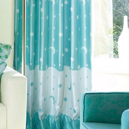 藍色星辰 特賣窗簾(勾紗) 半遮光無接縫窗簾布 DA1890036