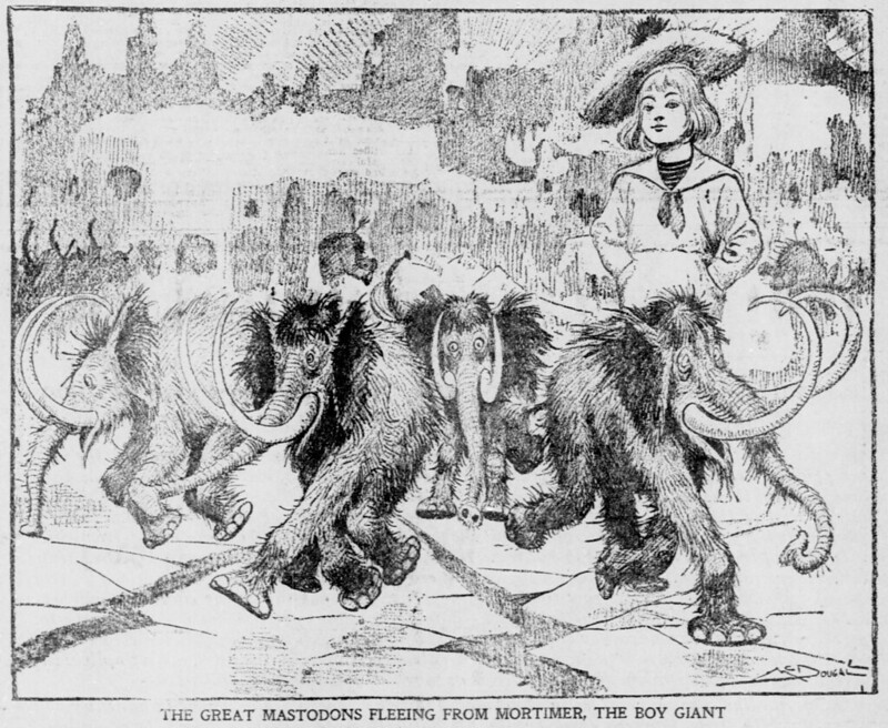 Walt McDougall - The Salt Lake herald., April 13, 1902, The Great Mastodons Fleeing From Mortimer, The Boy Giant
