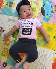 Earlier this year I made Psycho Panda onesies for then unborn #HarperLanexang who is big enough now to rock her EXCLUSIVE Psycho Panda onesies! Much love to parents @velvetredmusic and @miiirrriii !!! Check out Baby Harper in her Schoolhouse Rock vibe!! :