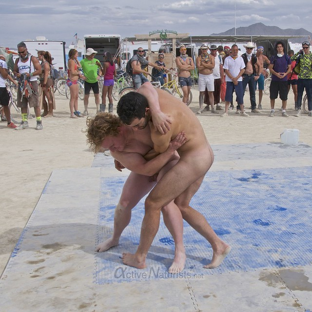 naturist wrestling camp Gymnasium 0043 Burning Man, Black Rock City, NV, USA