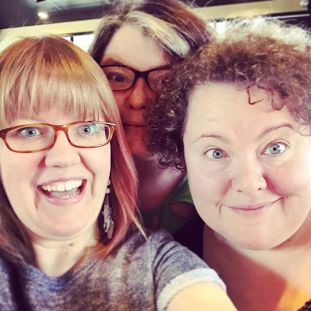 Impromptu coffee with @iamknitbrit & @knitgrrl, on their way to Purl's in Asheville! If you're in the area, go to the trunk show Saturday at 6pm! #avl #asheville