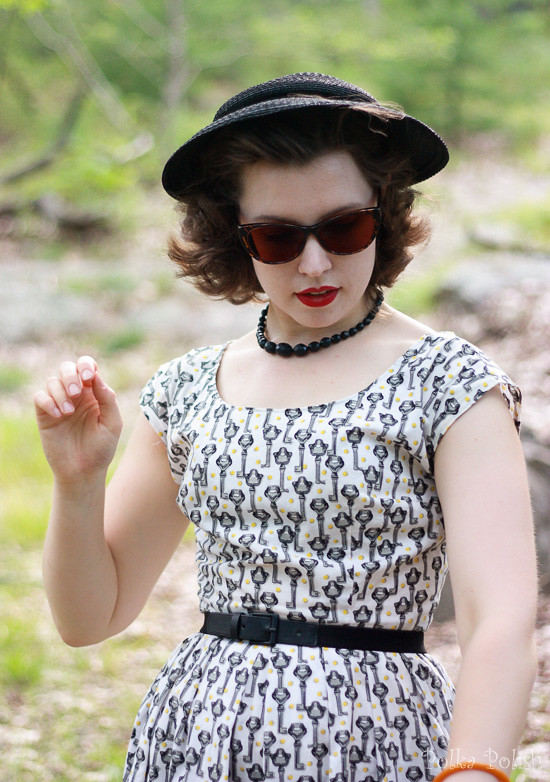Retro novelty key dress in the forest