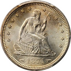 1874-S Liberty Seated Quarter obverse