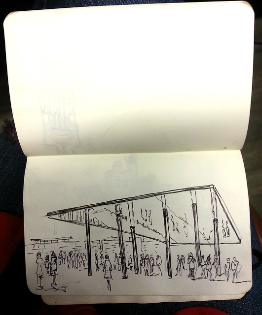 Sketching in Marsielle: the Norman Foster reflected pavilion